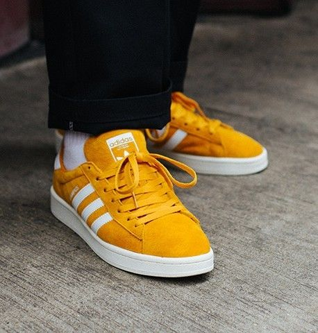 reputable site 41fb9 beed6 Adidas Campus on feet on the street.
