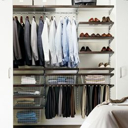 The Container Store  Walnut & Platinum elfa décor Modern Reach-In Closet