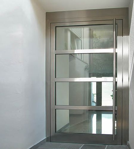25 best glass entry doors ideas on pinterest entry for Steel entry door with sliding window