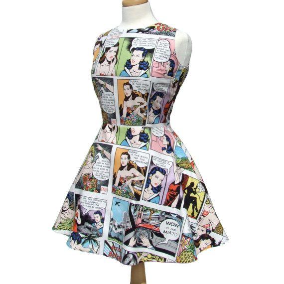Comic Strip Lt White Skater Dress by VintageGaleria on Etsy, $59.95