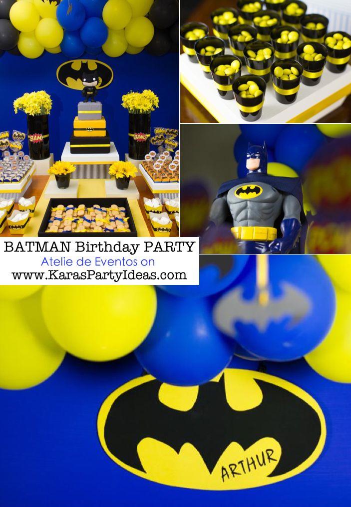 BATMAN themed birthday party via Kara's Party Ideas   KarasPartyIdeas.com #batman #party #ideas #supplies