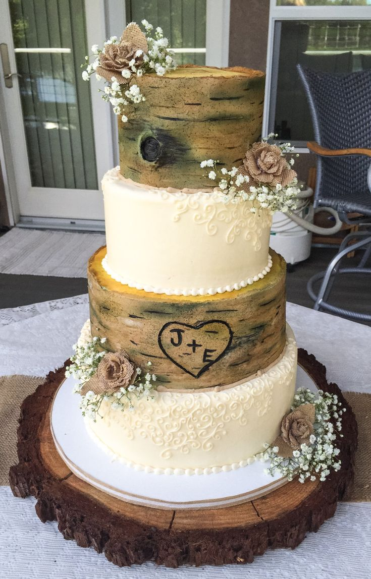 Rustic tree and lace faux wedding cake by CakeintheCupboard on Etsy