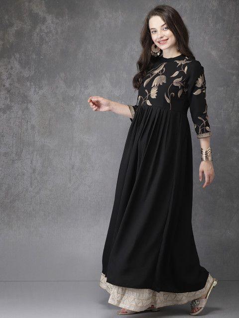 008435fce9330 Anouk Women Black Yoke Design Anarkali Kurta - Kurtas for Women 6613260 |  Myntra #anarkali #anarkalikurta #kurta #kurtas #kurti #afflink #fashion ...