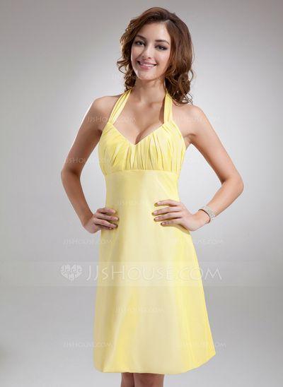 Bridesmaid Dresses - $89.99 - A-Line/Princess Halter Knee-Length Taffeta Bridesmaid Dress With Ruffle Bow(s) (007004306) http://jjshouse.com/A-Line-Princess-Halter-Knee-Length-Taffeta-Bridesmaid-Dress-With-Ruffle-Bow-S-007004306-g4306