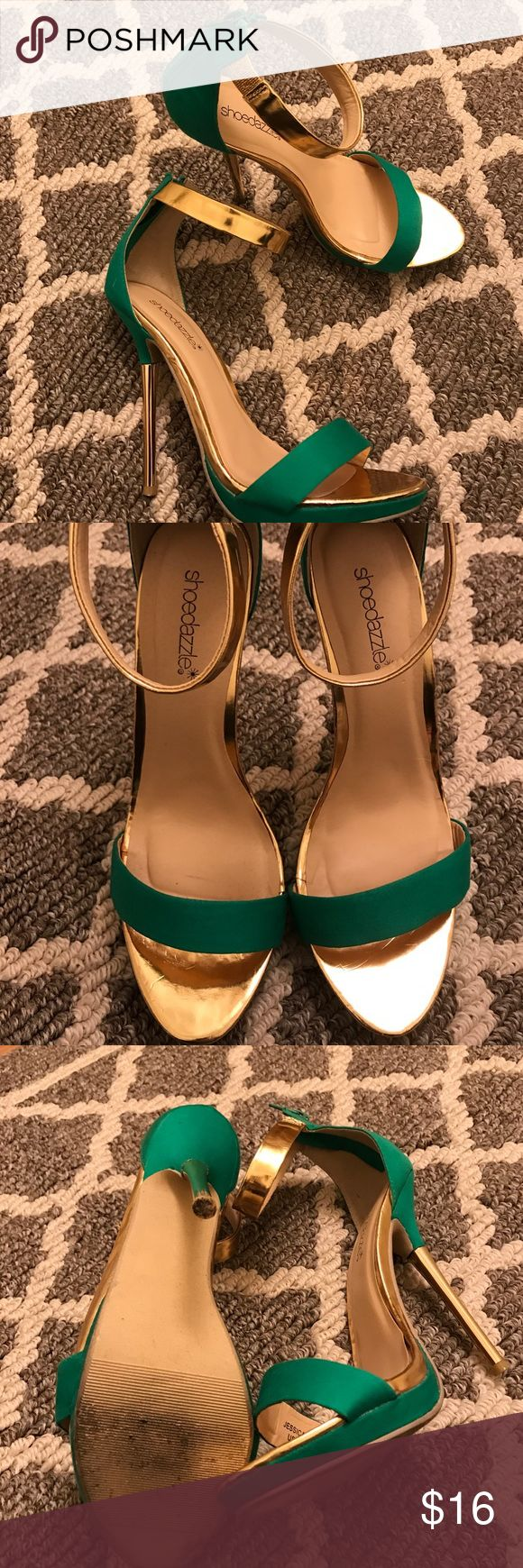 Shoedazzle Jessica Sandals Worn once for a wedding. Metallic gold and green with zipper on the back shoedazzle  Shoes Heels