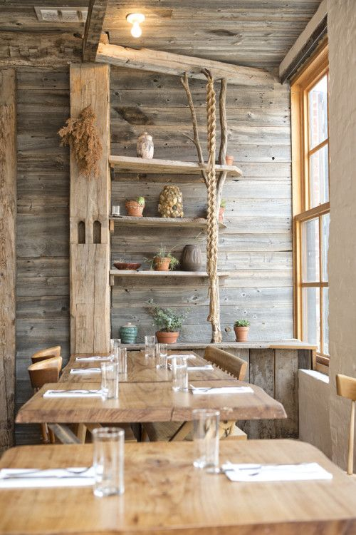 I seriously want this look in my house!  A Modern Rustic Restaurant in Brooklyn