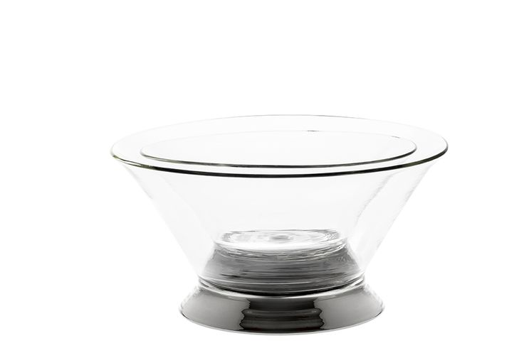 Two glass salad bowls with steel plated finishing. Hand made Venetian glass. size: small – diam. 22,5cmx 11 cm. big – diam. 29 cm.