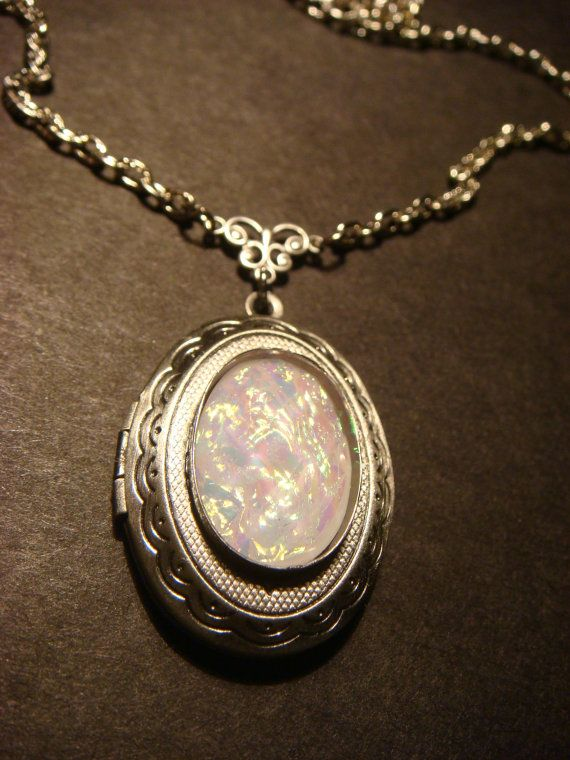 victorian style white opal locket necklace in antique