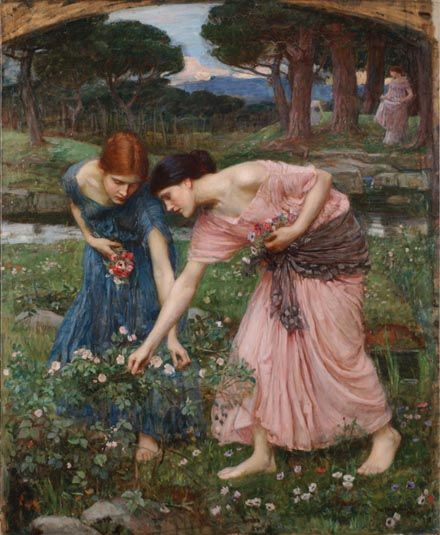 picking roses...Preraphaelite, Gathering Ye, Pre Raphaelite, Art, Carpe Diem, John William Waterhouse, Oil Painting, John Williams Waterhouse, Ye Rosebud