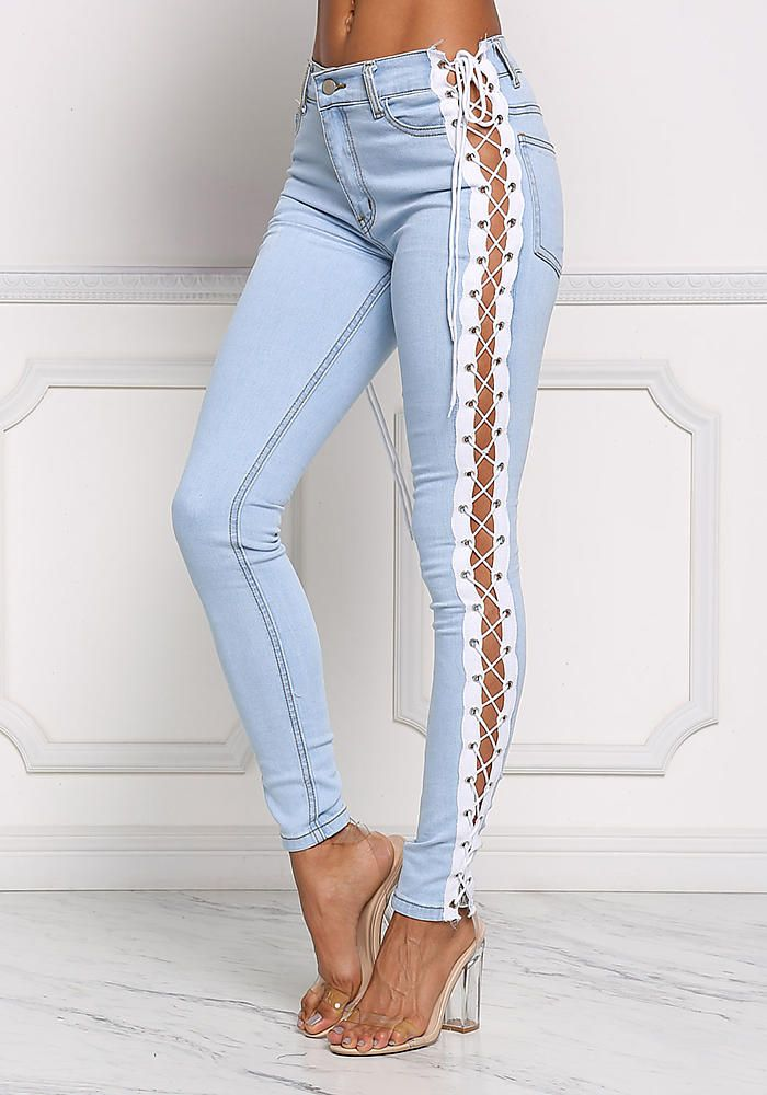 Light Denim Side Lace Up Skinny Jeans Bottoms Clothes