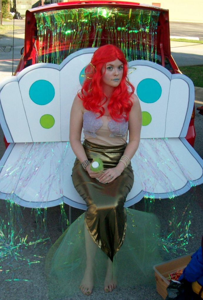 DIY costumes for adults. Creepy ariel, but I like the idea for how to do a mermaid tail