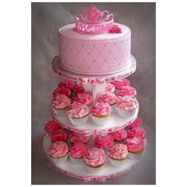 Madison's Princess Themed First Birthday Cupcake Tree ❤ liked on Polyvore featuring cakes and backgrounds