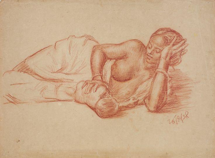 Satish Chandra Sinha Medium: Conte on paper Year: 1938 Size: 11 x 15 in.