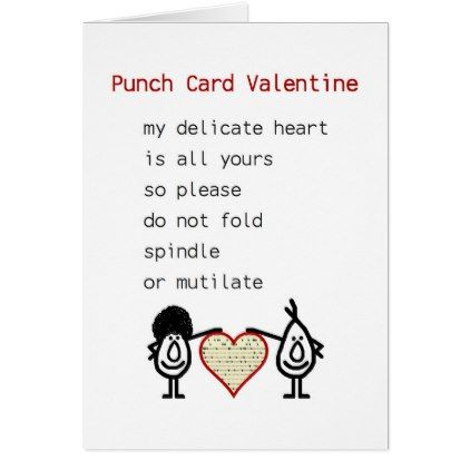Punch Card Valentine - a funny Valentine poem - valentines day gifts love couple gift idea my love valentine
