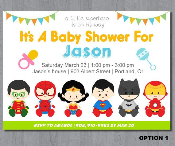 Superhero Baby Shower Invitation super hero baby by KidzParty