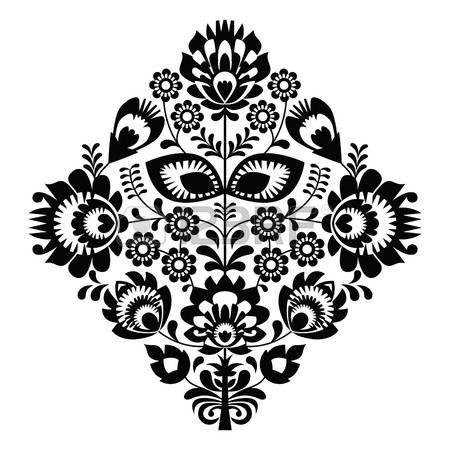 Bordado popular con flores - patr�n tradicional polaca en blanco y negro photo