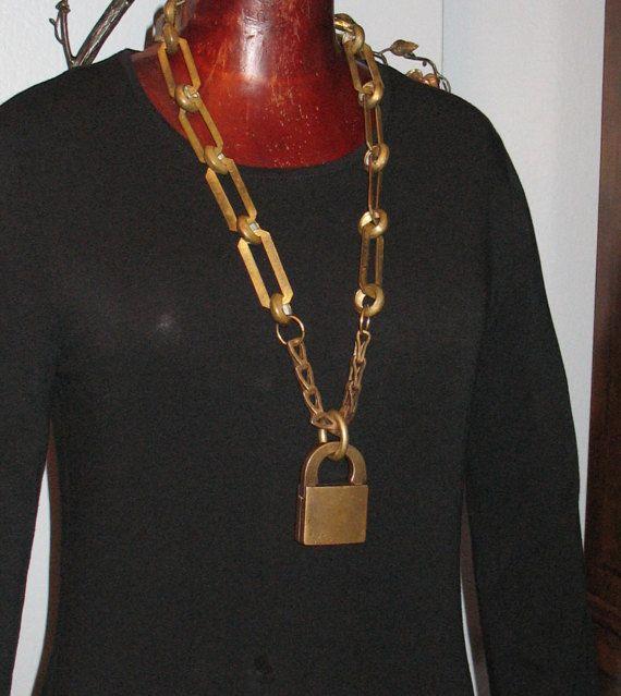 1897 Padlock Necklace by Lenore Salazar, 1800s Lock, Antique Padlock Necklace, Game of Thrones, OOAK Statement Necklace, Antique Padlock