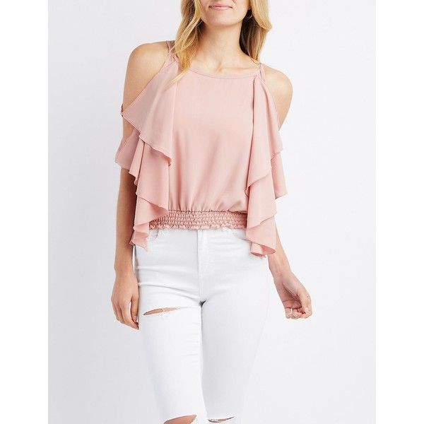 Charlotte Russe Ruffle Batwing Cold Shoulder Top ($18) ❤ liked on Polyvore featuring tops, mauve, cut-out shoulder tops, tiered top, cut out shoulder top, open shoulder tops and pink cold shoulder top