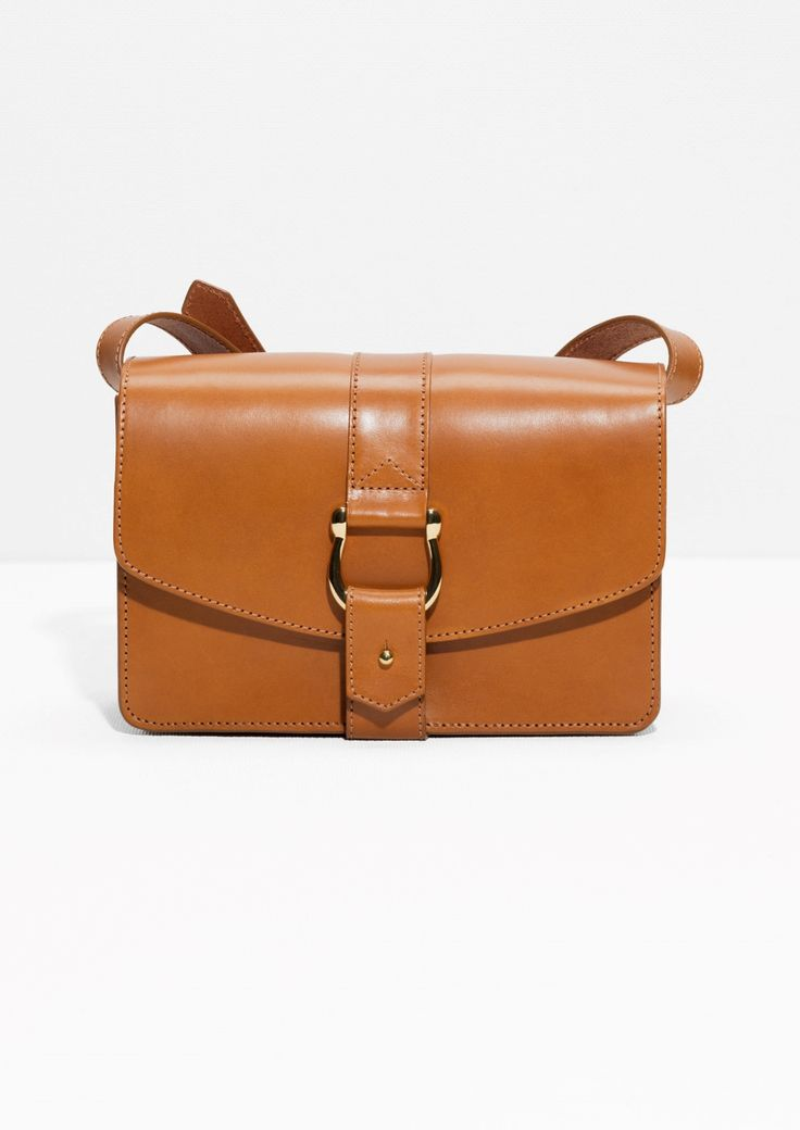 & Other Stories image 1 of Push Pin Buckle Leather Crossbody in Cognac
