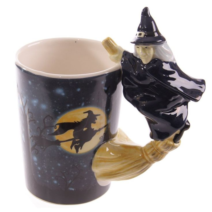 Novelty+Witch+Mug+with+Witch+on+Broomstick+Handle