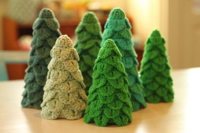 Hæklet juletræer
