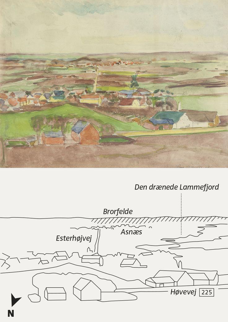 INFOGRAFIK til skiltene på kunstruten: For at undgå at skrive direkte på malerierne er der til alle billeder udviklet en stregtegning til info om motiv og landskab.