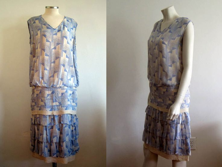 1920s Dress / 20s Blue Ivory Novely Print / SM by AntiqueGraces on Etsy https://www.etsy.com/listing/518238323/1920s-dress-20s-blue-ivory-novely-print