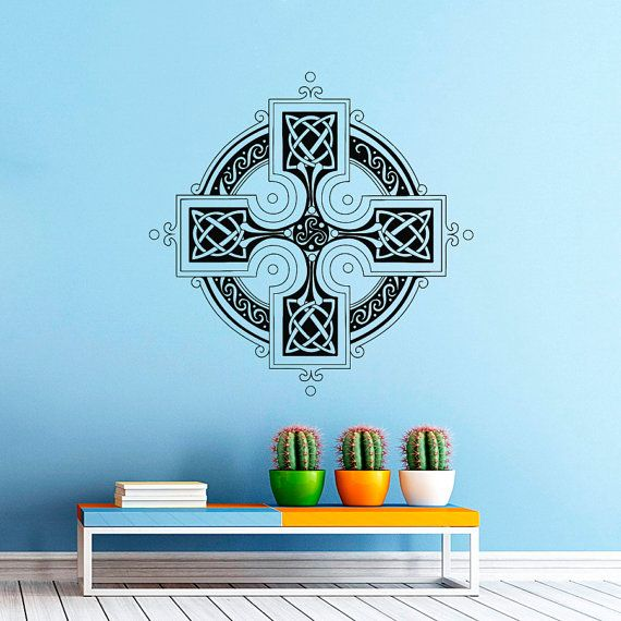 Celtic cross wall decal antique celtic cross wall decals for Celtic bedroom ideas