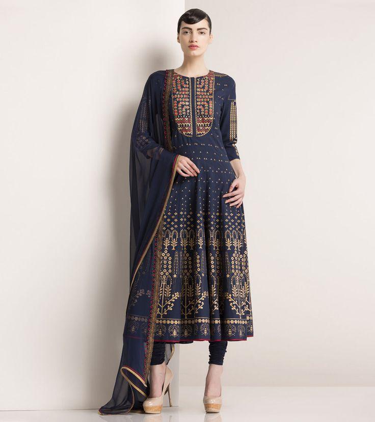 Navy Blue Printed Cotton Anarkali Suit