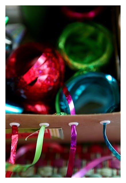 Organizing Christmas ribbons