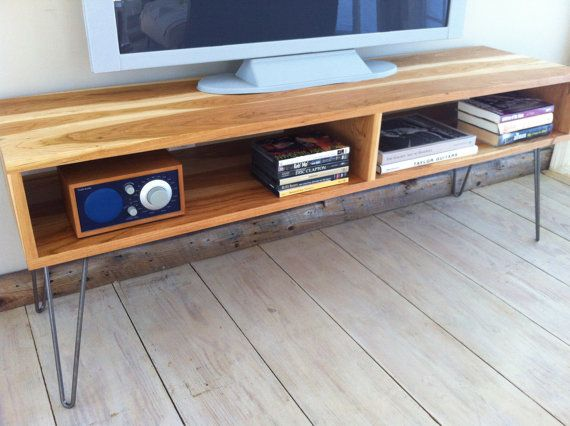 Mid century modern TV table/entertainment console featuring American cherry with hairpin legs. on Etsy, $775.00