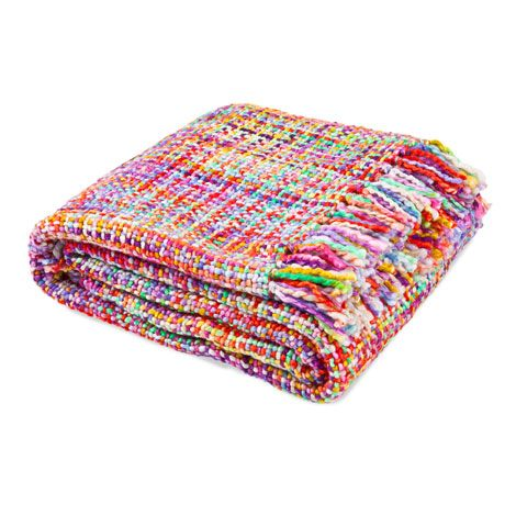 Multicoloured Crossed Moss Stitch Blanket.   ZARA HOME Portugal