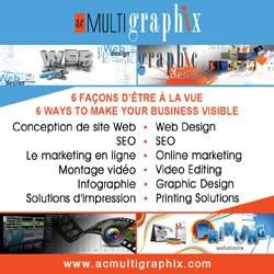 The AcMultigraphix.com company was created in 2006 and welcomes a group of remote professionals with over 15 years experience in graphic design, web design, video editing, data base programming, SEO and marketing. www.AcMultiGraphix.com