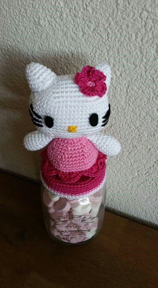 Pot hello kitty gehaakt