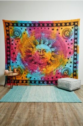 Sun and Moon Tie Dye Tapestry
