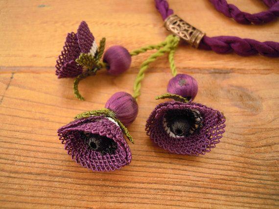 purple flower necklace turkish oya needle lace poppy