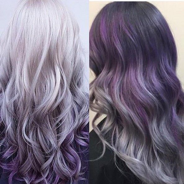 Gray to Purple Ombre Hair - Thick Hairstyles for Long Hair