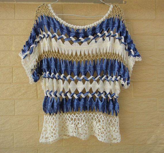Denim Blue Womens Crochet Top Kimono Sleeve Striped Hairpin Crochet Pattern