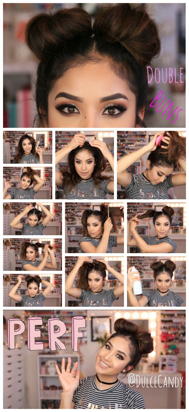 cool Double Bun hair Tutorial... by http://www.dana-hairstyles.xyz/hair-tutorials/double-bun-hair-tutorial/