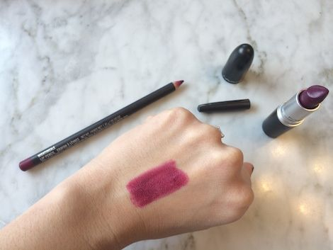 Perfect berry lip by MAC: Nightingale lip liner + Rebel lipstick