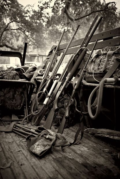 Photo Credit: Squire Fox. The shotguns of Middleton members range from family heirloom to no-frills deer gun. Members who miss easy shots at deer are fined and often spend a season getting gently reminded of their foibles.