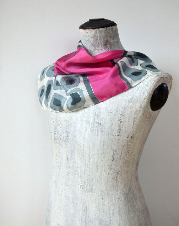 Handpainted extra thick Pebble pattern silk by silkandmoreshop