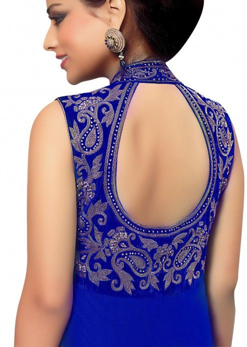 Royal blue paisley antique embroidered anarkali suit by B91 Exclusive Back Neck Pattern