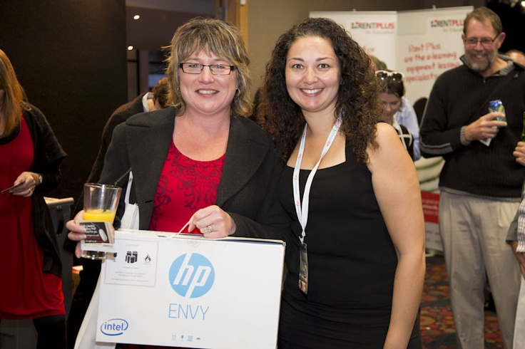 ENVY x2 prize winner with HP's Melissa Fincham.