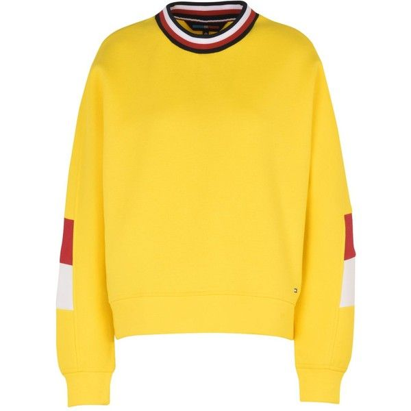 Tommy Hilfiger Sweatshirt ($150) ❤ liked on Polyvore featuring tops, hoodies, sweatshirts, yellow, long sleeve sweatshirts, long sleeve cotton tops, yellow sweatshirt, yellow top and logo sweatshirts