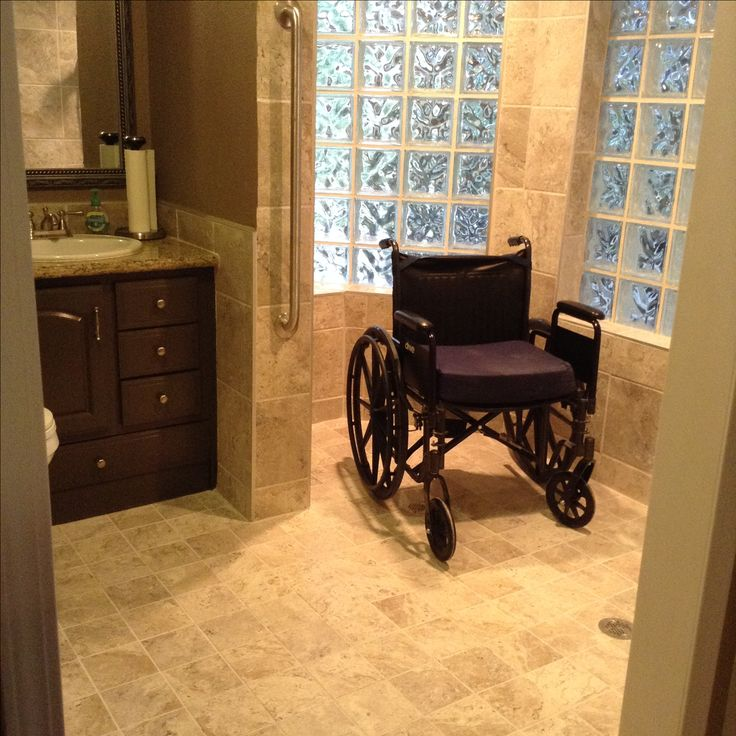 After - My husband\'s finished, wheelchair-accessible doorless shower ...