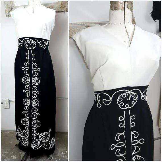 Mod 60s Black and White Maxi Dress