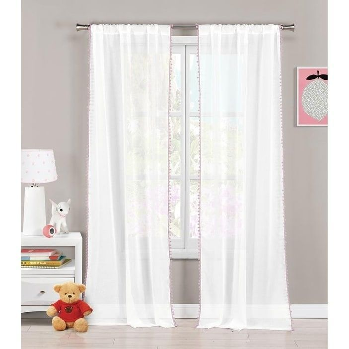 Pompom Aveline Room Darkening Pole Top Curtain Panel Pair (Lavender (Purple)), Size 84 Inches (Polyester, Solid)