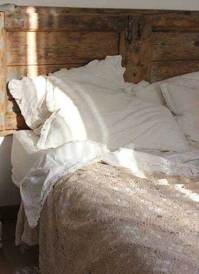 wood headboard, white linens, beige blush warm layers