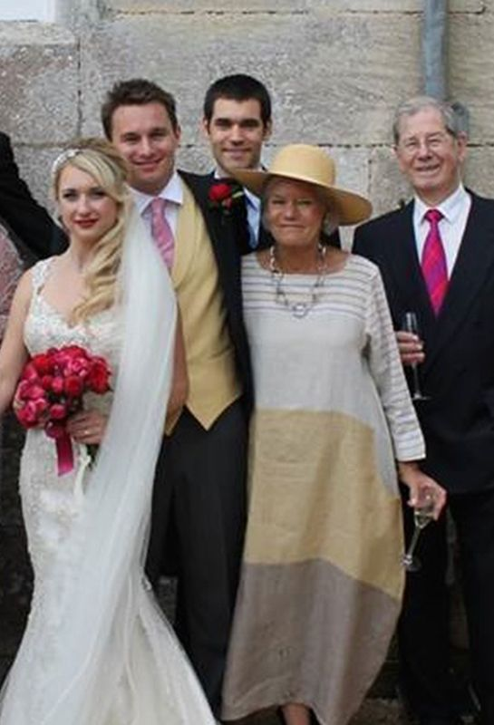 Anne Lickiss, wearing the Striped dress in linen, at her nephews wedding. By Terry Macey & Angelika Elsebach